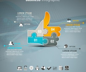 Gray business infographics template vector 02