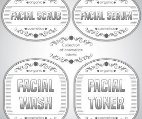 Gray cosmetics labels vectors 02