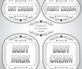 Gray cosmetics labels vectors 03