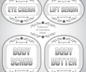 Gray cosmetics labels vectors 04