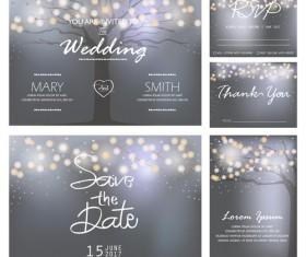 Halation tree with wedding invitation card vector 01