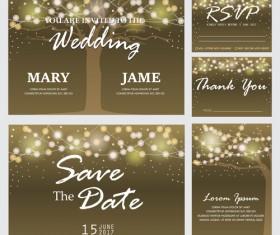 Halation tree with wedding invitation card vector 02