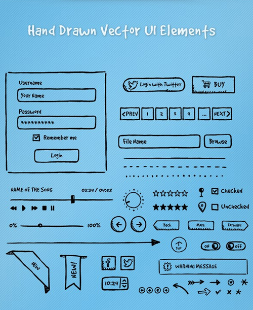 Hand drawn UI Elements psd material