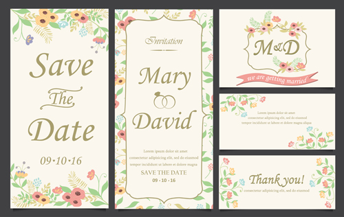 Hand drawn wedding invitation card cute vector 01 free download