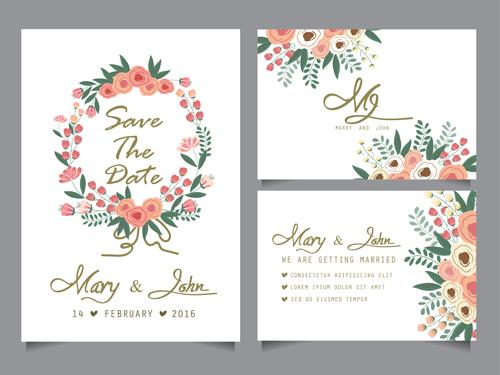 Hand drawn wedding invitation card cute vector 02 free download