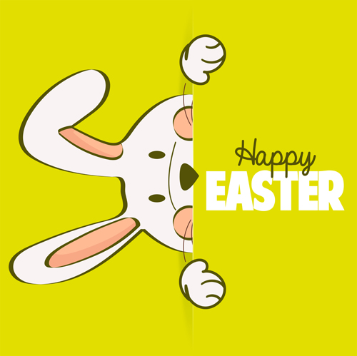 Happy easter card with hand drawn rabbit vector 04 Vector Card – Happy Easter Card