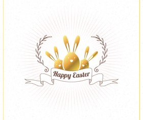Happy easter ribbon labels vector 01