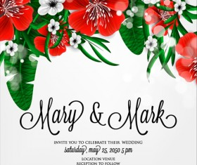 Hibiscus flowers with wedding invitation card vector 01