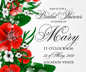 Hibiscus flowers with wedding invitation card vector 04