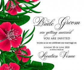 Hibiscus flowers with wedding invitation card vector 05