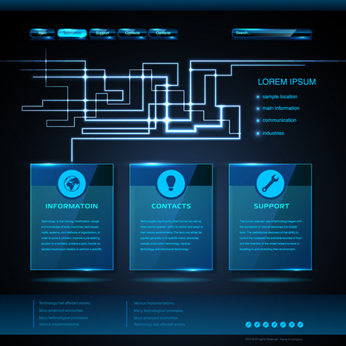 High Tech Blue Website Template Vector