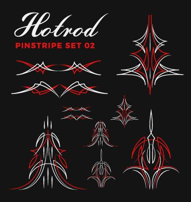 Hotrod Pinstripe Vector Illustration Set 02 Free Download