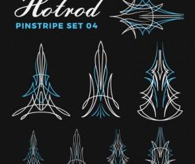 Hotrod pinstripe vector illustration set 04
