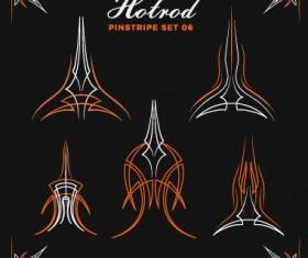 Hotrod pinstripe vector illustration set 06