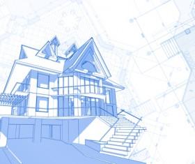 House architecture blueprint vector set 02