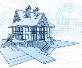 House architecture blueprint vector set 03