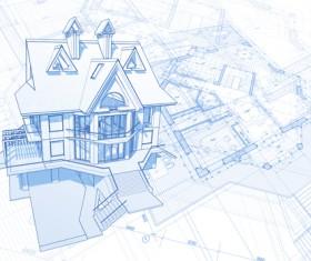 House architecture blueprint vector set 05