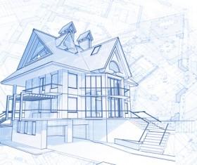 House architecture blueprint vector set 06