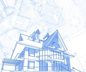House architecture blueprint vector set 07