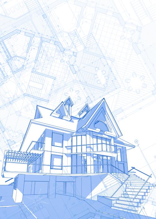 House architecture blueprint vector set 07 vector architecture house architecture blueprint vector set 07 malvernweather Images