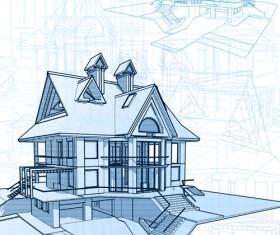House architecture blueprint vector set 08
