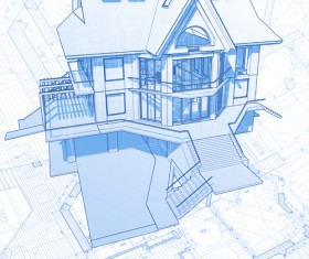 House architecture blueprint vector set 10