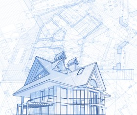 House architecture blueprint vector set 12