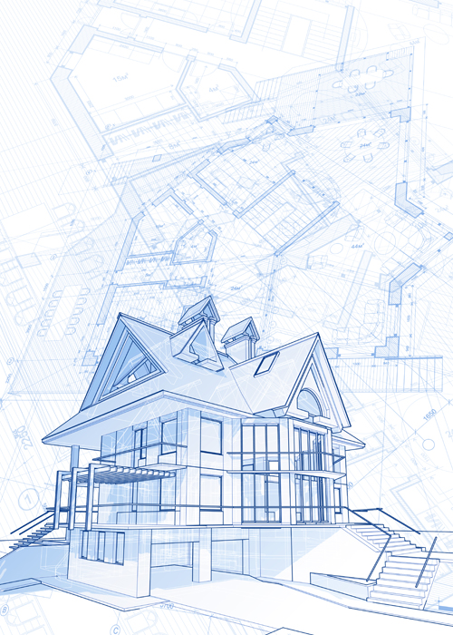 House architecture blueprint vector set 12 vector architecture house architecture blueprint vector set 12 malvernweather Choice Image