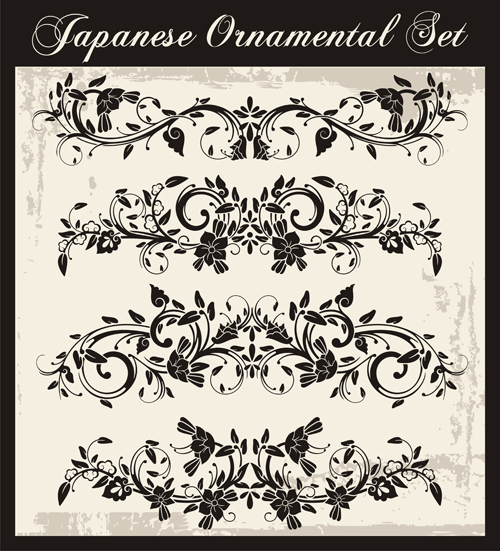 Japanese styles ornaments design vector set 09
