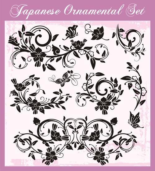 Japanese styles ornaments design vector set 10