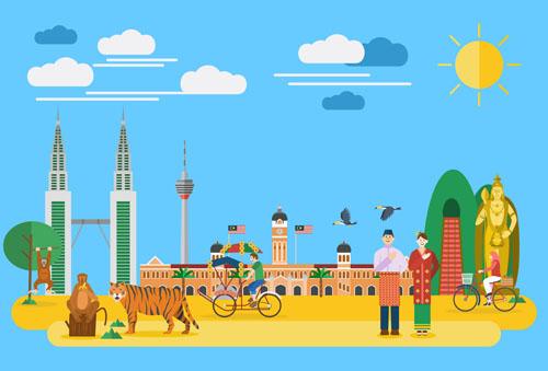 landmarks flat design template vector 03 free download