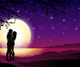 Lovers silhouette with moon and tree vector 02
