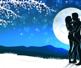 Lovers silhouette with moon and tree vector 03