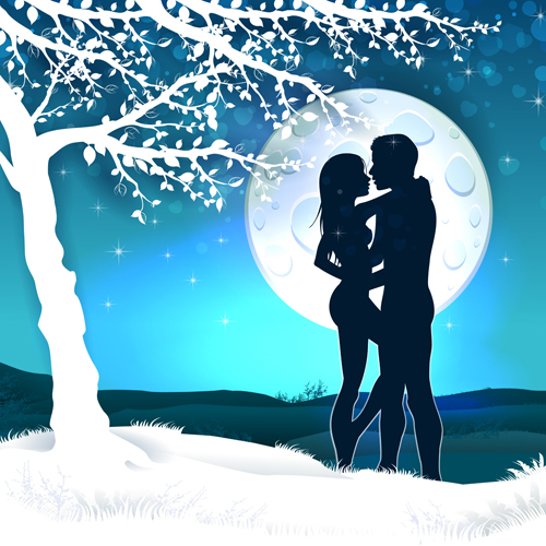 Lovers silhouette with moon and tree vector 04
