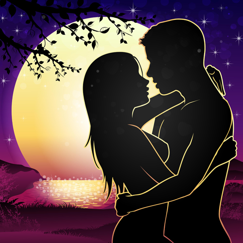 Lovers silhouette with moon and tree vector 05 - Vector People, Vector ...