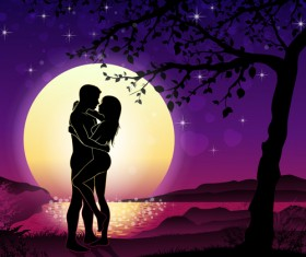 Lovers silhouette with moon and tree vector 06