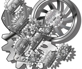 Machinery with gears vector 02