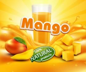 Mango juice nature vector 01