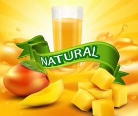 Mango juice nature vector 02