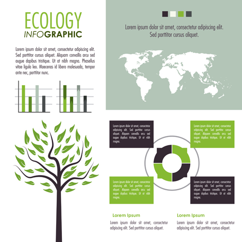 Modern ecology Infographic vectors material 05