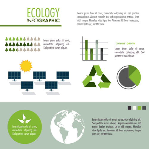 Modern ecology Infographic vectors material 07