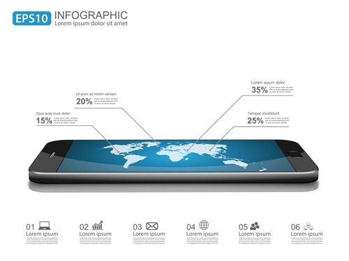 Modern mobile infographics vector material 01