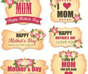 Mothers day labels with flower vector