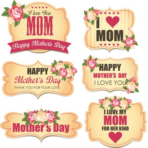 mothers day labels with flower vector vector flower free download. Black Bedroom Furniture Sets. Home Design Ideas