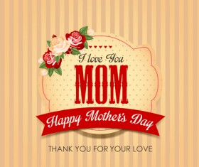 Mothers day vintage background vector 01