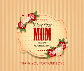 Mothers day vintage background vector 02
