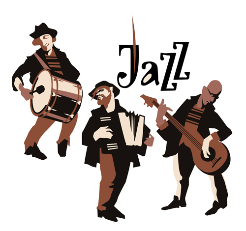 Arts Live Song Room: Musicians With Jazz Music Vector Material 01 Free Download