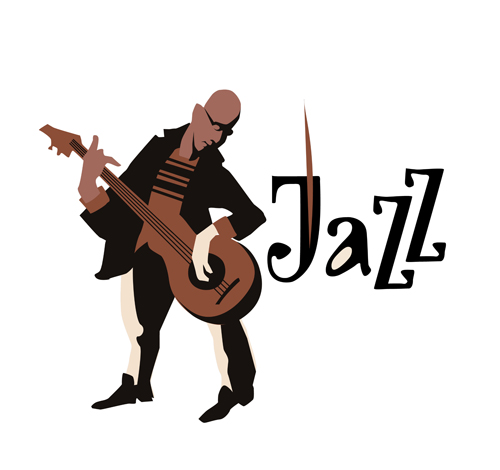 Musicians with jazz music vector material 06