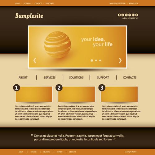Orange Styles Business Website Template Vector Vector