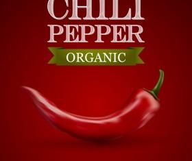 Organic chili pepper poster vector 01